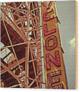 Cyclone Roller Coaster - Coney Island Wood Print