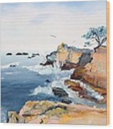 Cypress And Seagulls Wood Print
