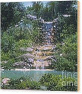 Cypress Garden Waterfalls Wood Print
