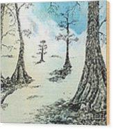 Cypress In Ink Wood Print
