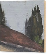 Cypress Tree And Roof Top Wood Print