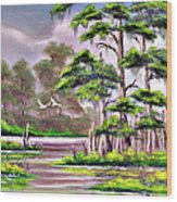 Cypress Trees-wakulla River Florida Wood Print