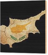 Cyprus Grunge Map Outline With Flag Wood Print