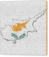 Cyprus Painted Flag Map Wood Print