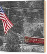 Cyrus K. Holliday Rail Car And Usa Flag Bwsc Wood Print