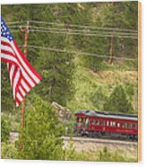 Cyrus K. Holliday Rail Car And Usa Flag Wood Print