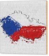 Czech Republic Painted Flag Map Wood Print