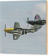 D-day Airshow Duo Spitfire And Mustang Wood Print