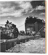 D-day Landings Harbour Wood Print