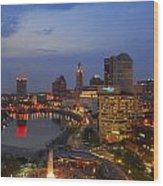 D101l Columbus Ohio Night Skyline Photo Wood Print