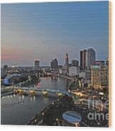D2l448 Columbus Ohio Night Skyline Photo Wood Print