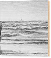 Dad And Son Beach Pencil Portrait Wood Print