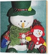 Daddy And Baby Snowmen Decorations Wood Print