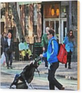 Daddy Pushing Stroller Greenwich Village Wood Print