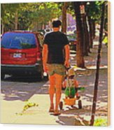 Daddy's Little Buddy Perfect Day Wagon Ride Montreal Neighborhood City Scene Art Carole Spandau Wood Print