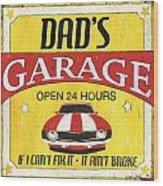 Dad's Garage Wood Print