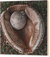 Dad's Old Ball And Glove Wood Print