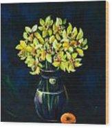 Daffodils And Fruit Wood Print