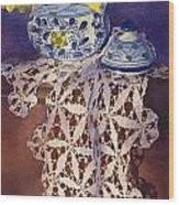 Daffodils And Lace Wood Print