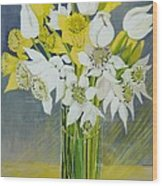 Daffodils And White Tulips In An Octagonal Glass Vase Wood Print