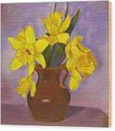 Yellow Daffodils On Purple Wood Print