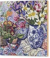 Daffodils Tulips And Iris In A Jacobean Blue And White Jug With Sanderson Fabric And Primroses Wood Print