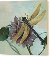 Dahlia With Dragonfly Resting Wood Print