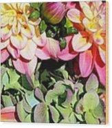 Dahlias And Hydrangeas Bouquet Wood Print