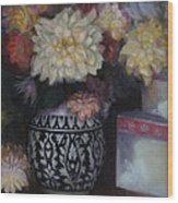Dahlias Wood Print by Susan Hanlon