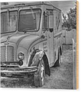 Dairy Truck - Old Rosenbergers Dairies - Black And White Wood Print