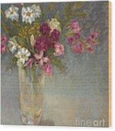 Daisies and Fresia Wood Print