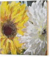 Daisies And Sunflowers - Impressionistic Wood Print