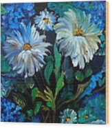 Daisies At Midnight Wood Print