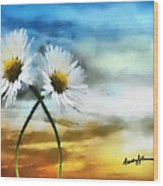 Daisies In Love Wood Print