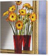 Daisies In Red Vase Wood Print