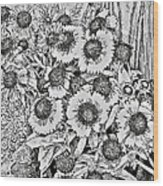Daisies In Relief Wood Print