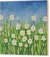Daisies In The Spring Wood Print