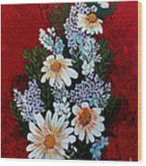 Daisies Lilacs And Forget Me Nots Wood Print