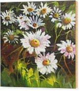 Daisies Wood Print by Robert Carver