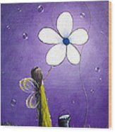 Daisy Fairy By Shawna Erback Wood Print by Shawna Erback