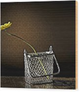 Daisy In A Chain Basket Wood Print
