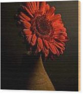 Daisy In Vase Wood Print