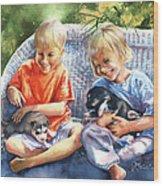Dakotas Puppies Wood Print