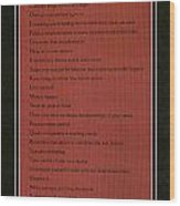 Dalai Lama A To Zen Of Life On Red Square Typography Wood Print