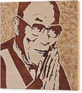 Dalai Lama Original Coffee Painting Wood Print