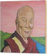 Dalai Lama Portrait Wood Print by Erik Franco