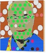 Dalai Lama Wood Print by Ricky Sencion