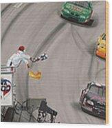 Dale Earnhardt Wins Daytona 500-checkered Flag Wood Print