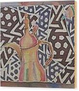 Dallah And Arabesque Motif Wood Print by Beena Samuel