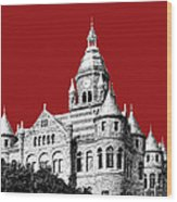 Dallas Skyline Old Red Courthouse - Dark Red Wood Print by DB Artist